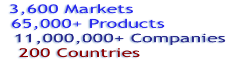 3,600 Markets, 65,000+ Products, 11,000,000+ Companies, 200 Countries